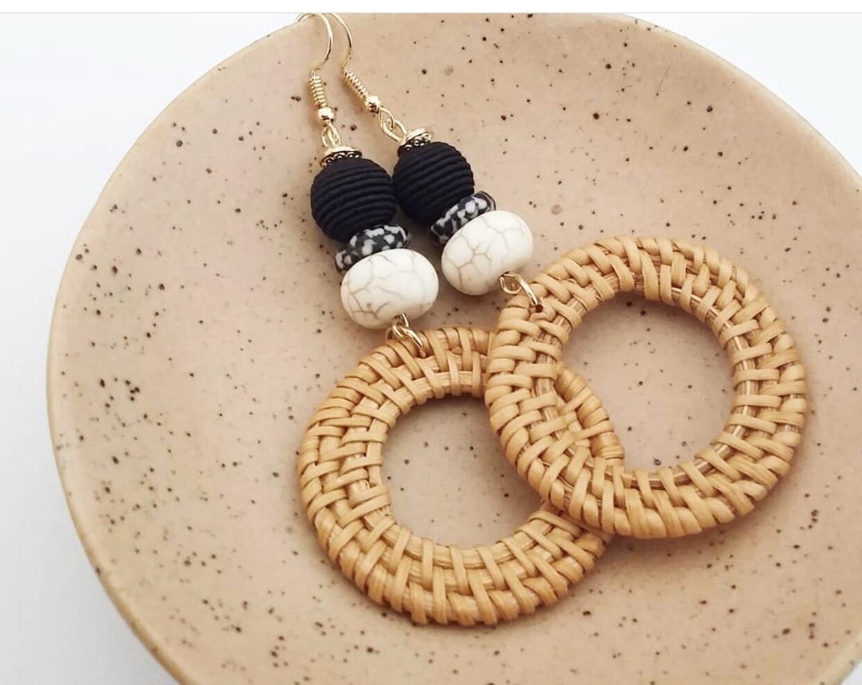 Rattan Hoop Earrings
