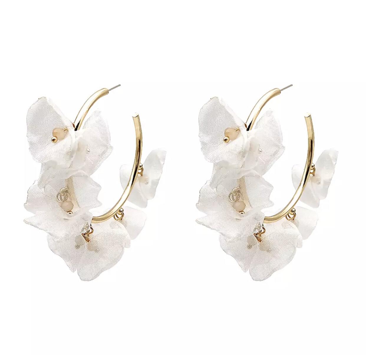 Chiffon Flower Hoop Earrings