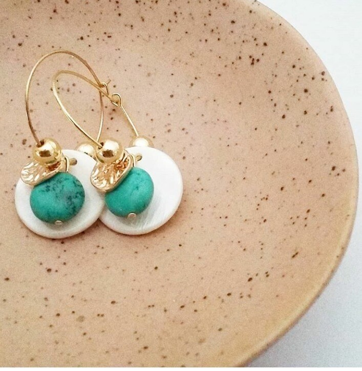 Shell And turquoise Hoop Earrings