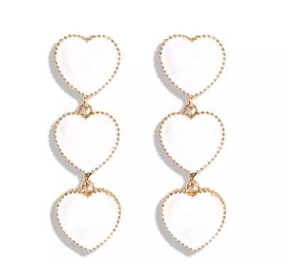 Cynthia Triple Heart Earrings