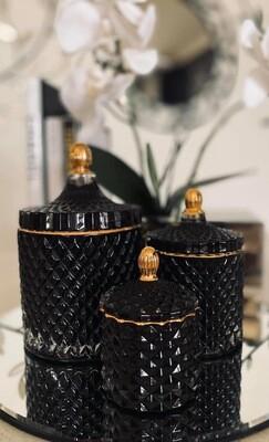 Black trio Glassware Candles