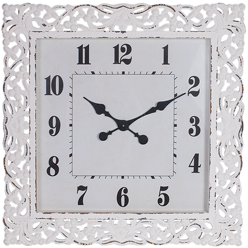 Carved Wood Clock with Glass Front