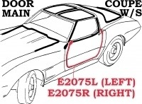 WEATHERSTRIP-DOOR MAIN-COUPE-USA-LEFT-69-77 (#E2075L) 4AA3