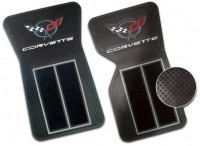 MAT SET-RUBBER AND CARPET-WITH C-5 LOGO-BLACK-PAIR-68-82 (#4875) 8-4