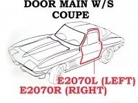 WEATHERSTRIP-DOOR MAIN-COUPE-USA-LEFT-63-67 (#E2070L) 4A3