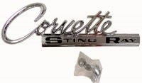 EMBLEM-REAR DECK-CORVETTE STING RAY-WITH FASTENERS-EACH-63-65 (#E3153)