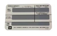 DECAL-TIRE PRESSURE-78-82 (#E20655) 5C3