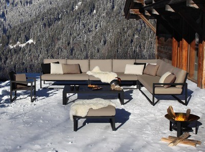 NINIX LOUNGE Ниникс лаунж мебель для террасы из влагостойкой ткани, нержавеющей стали и тика Royal Botania Бельгия