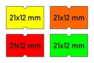 Etiketten 21x12 mm gelb orange rot grün - G2 permanent