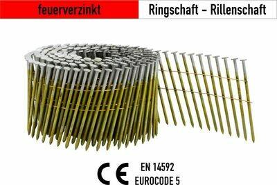 7.200 Coilnägel 16° drahtgebunden 2,5 x 65 mm feuerverzinkt
