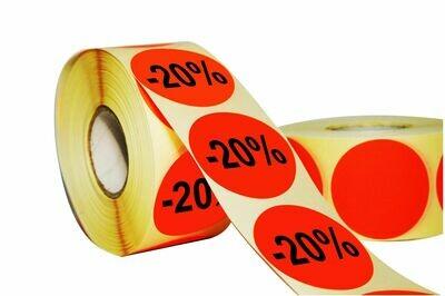 Aktionsetiketten 50 mm Durchmesser - 20 %