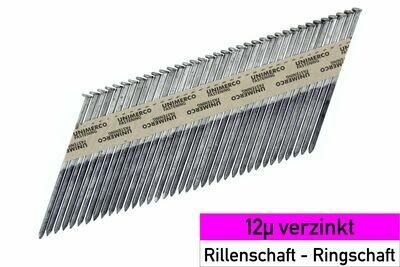 4.000 Streifennägel 2.8x75 - 12µ verzinkt - Ringschaft - D-Kopf