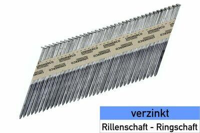 Streifennägel 34° - D-Kopf - verzinkt - glatter Schaft