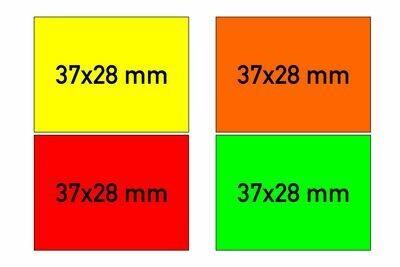 Etiketten 37x28 mm gelb orange rot grün G2 - permanent