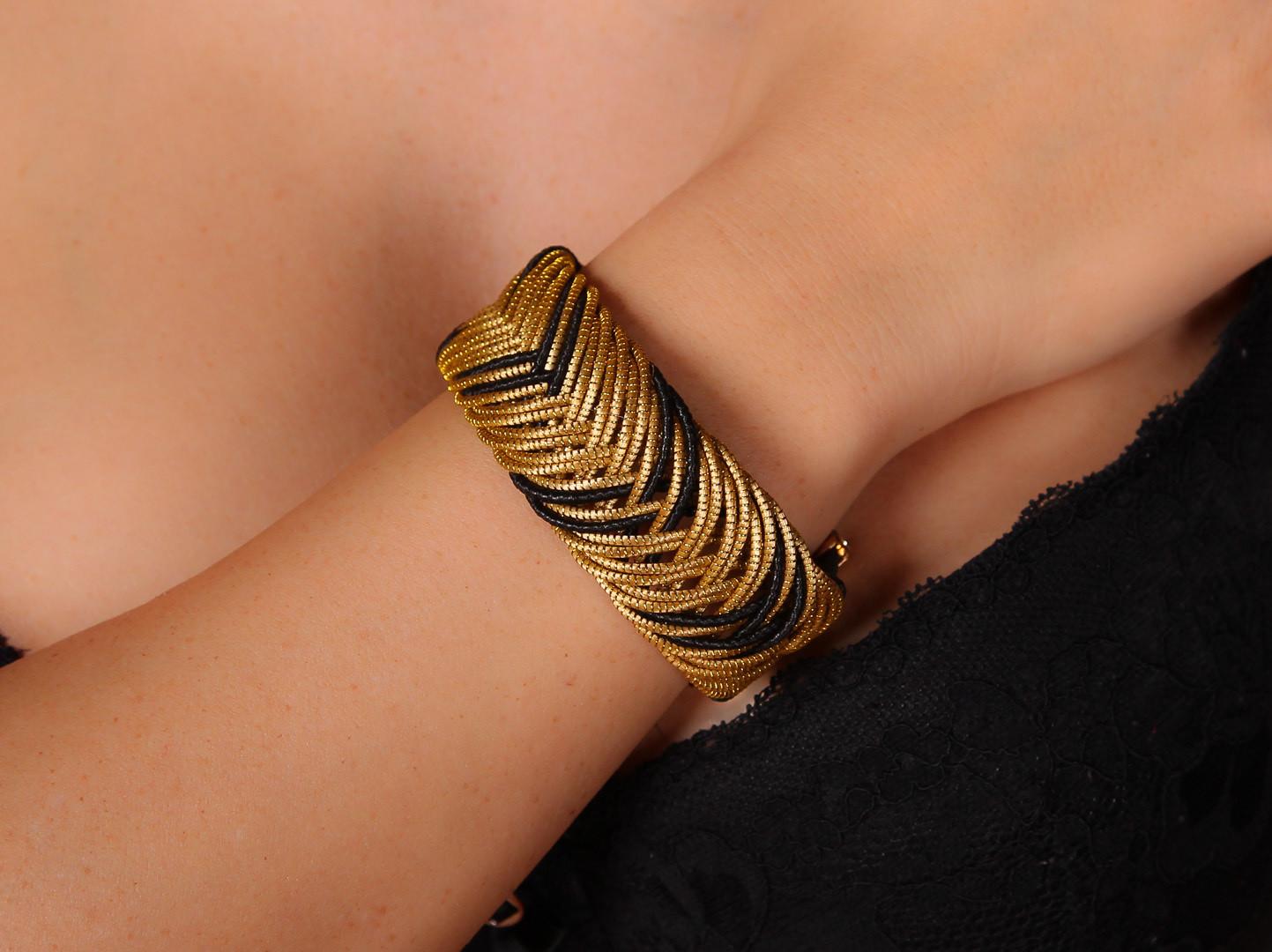 Goldgras Armband geflochten Gold-Schwarz