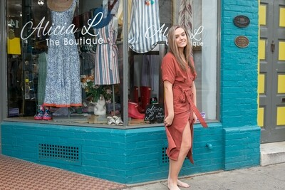 Rust Button Down Dress