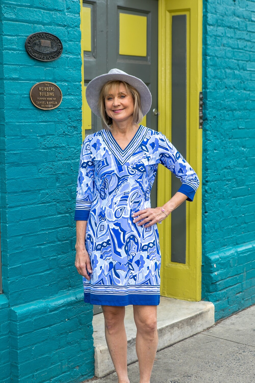 Blue and White Barbara Erickson Dress