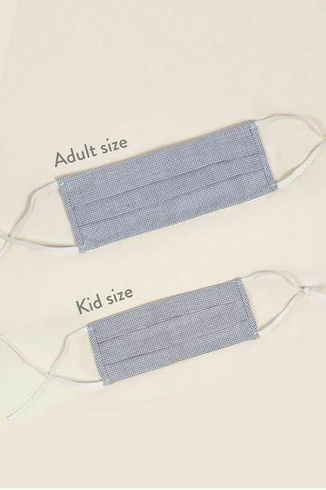 Black Grid  Cotton Facemask-Adult