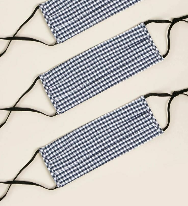 Blue Gingham Cotton Facemask