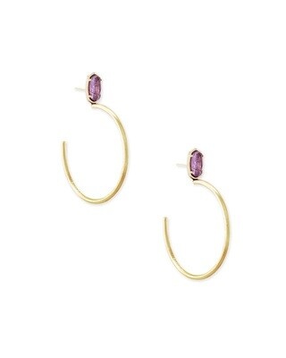 Kendra Scott Small Pepper Hoops Gold Purple Mica