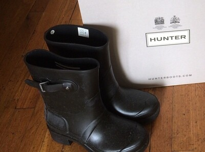 Hunter Boots Short Black Ankle Size 7