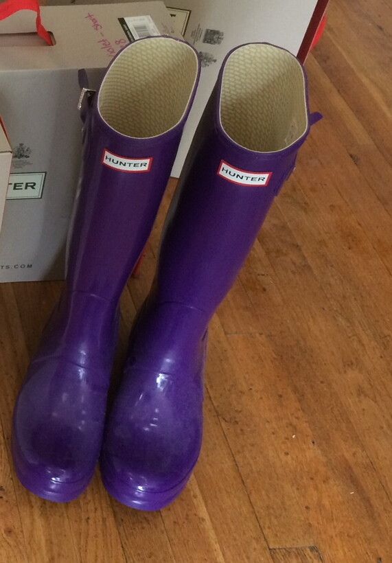 Hunter Boots Tall Purple Gloss Size 9