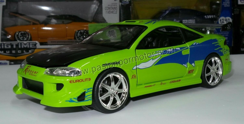 1:24 Mitsubishi Eclipse 1995 Verde Brian´s  Rapido Y Furioso Jada Toys En Display / A Granel