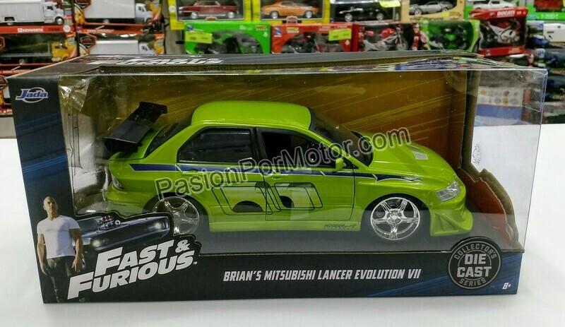 1:24 Mitsubishi Lancer Evo VII 2001 Verde Brian's Rapido Y Furioso Jada Toys En Caja