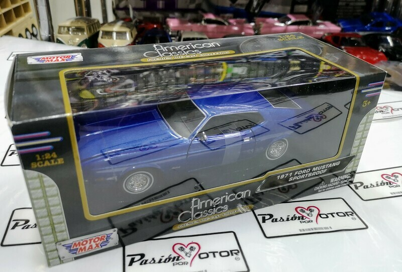 1:24 Ford Mustang Sportsroof 1971 Azul Motor Max C Caja Mach Shelby