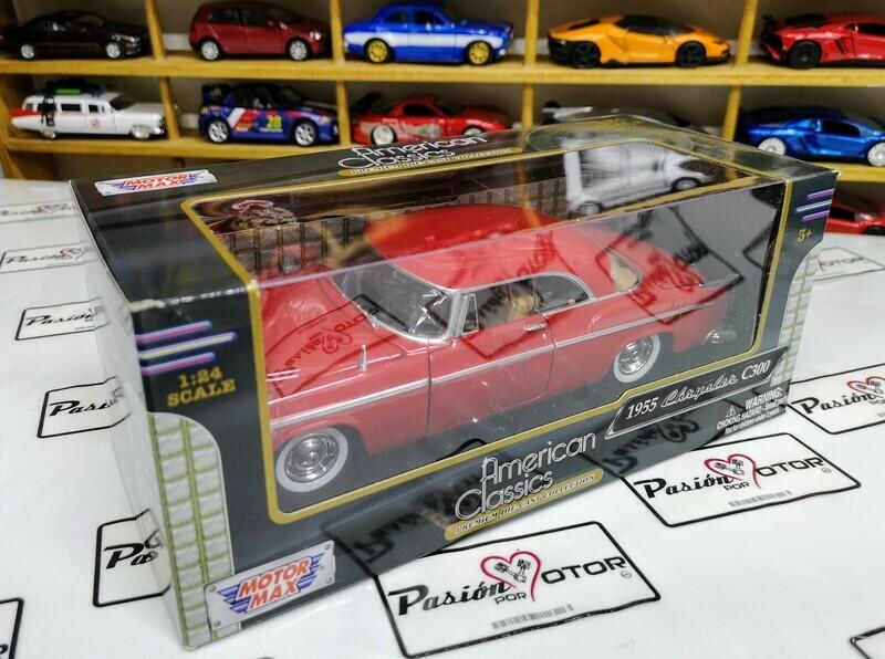 1:24 Chrysler C300 1955 Coupe Rojo C Blanco Motor Max C Caja