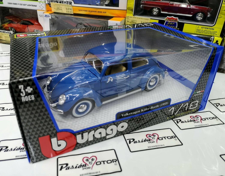 1:18 Volkswagen Beetle Kafer 1955 Oval Window Azul Bburago Vocho