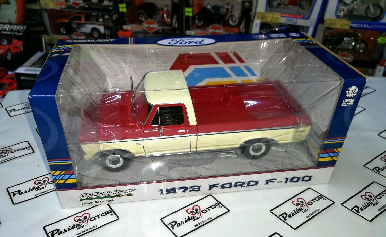 1:18 Ford F-100 Pick Up 1973 Rojo C Blanco Greenlight