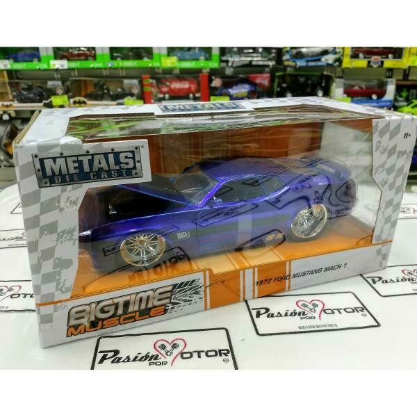 1:24 Ford Mustang Mach 1 1973 Azul Candy Jada Toys Big Time Muscle Shelby En Caja