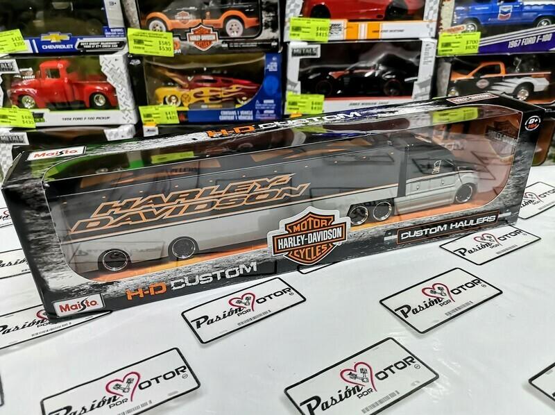 1:64 Custom Hauler Camion Trailer Gris c Negro Harley Davidson de Maisto H-D Custom
