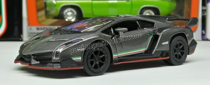 1:36 Lamborghini Veneno 2013 Gris Kinsmart En Display a Granel 1:32