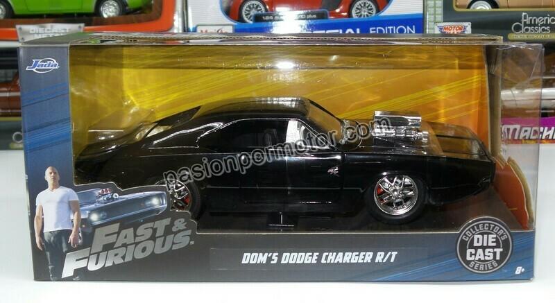 1:24 Dodge Charger R/T 1970 Negro Dom's Toretto Rapido Y Furioso 7 Jada Toys Con Caja