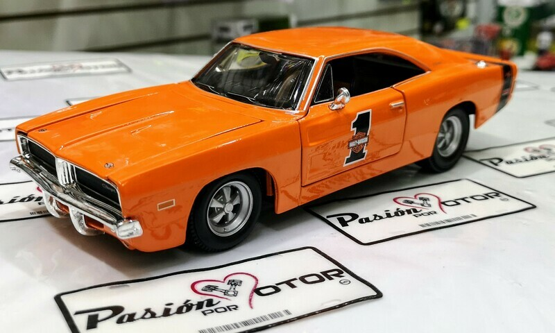 1:25 Dodge Charger R/T 1969 Naranja Maisto H-D Harley Davidson En Display / A Granel 1:24