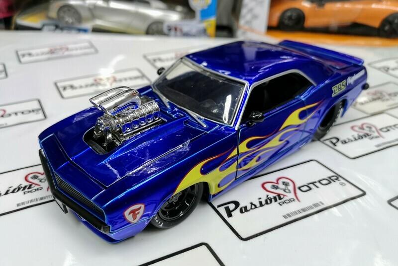 1:24 Chevrolet Camaro 1969 Show Engine Azul Jada Big Time Muscle A Granel / En Display