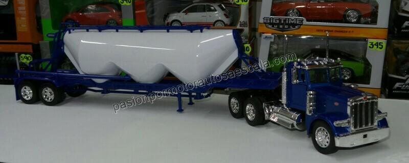 1:32 Peterbilt Model 379 Day Cab C Trailer Pipa de Cemento Chichona New Ray