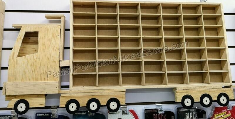 Camion Coleccionador Repisa Para Colgar, En Madera Para 49 Pz Tipo Hot Wheels 1:64