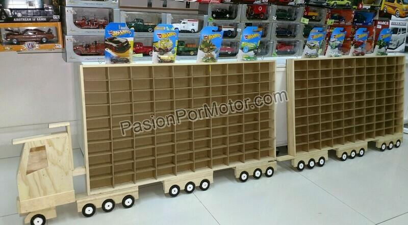 Camion Trailer Full Doble Remolque Coleccionador Repisa Para Colgar, En Madera P 200 Pz Tipo Hot Wheels 1:64