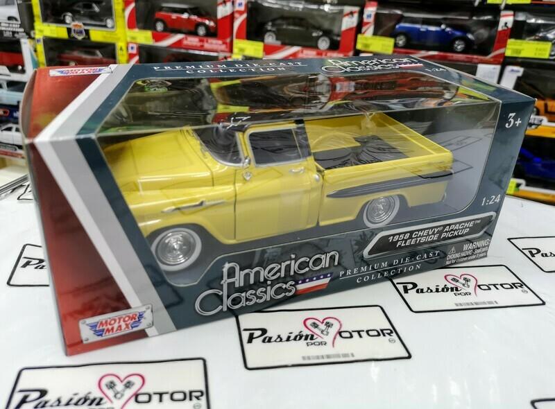 1:24 Chevrolet Apache 1958 Pick Up Amarillo Negro Motor Max C Caja
