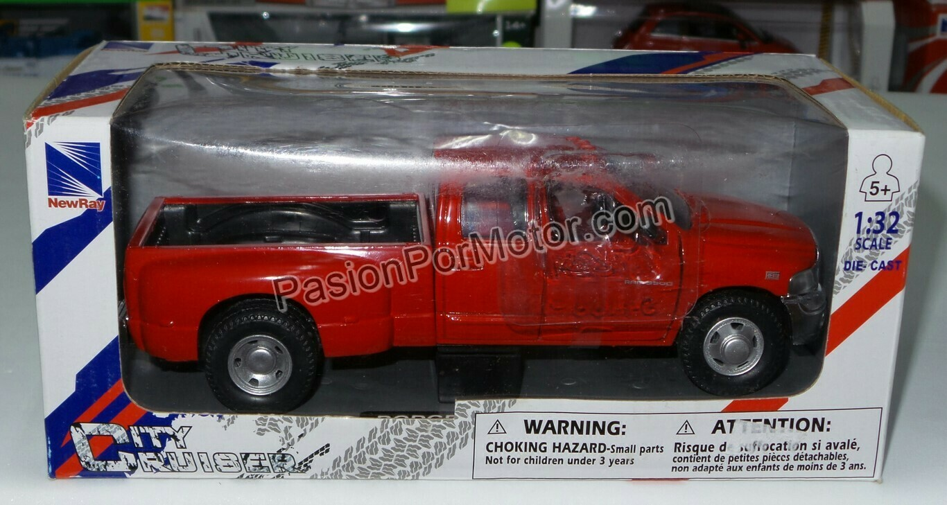 1:32 Dodge Ram 3500 Quad Cab 2003 Pick Up Rojo New Ray