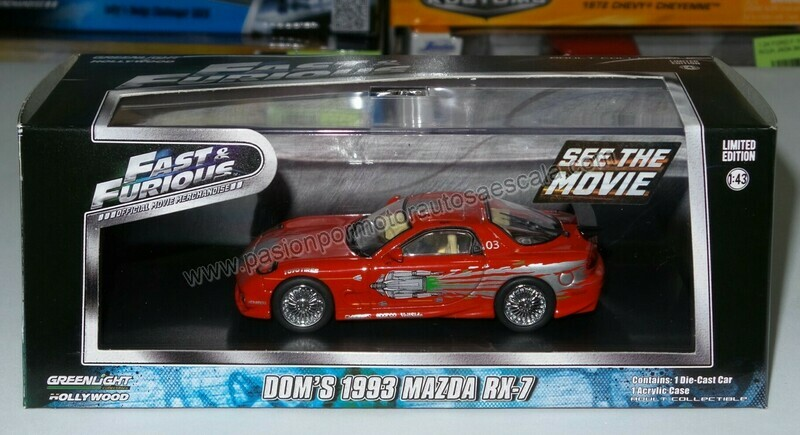 1:43 Mazda RX-7 1993 Dom's Toretto Rapido y Furioso 1 de Greenlight