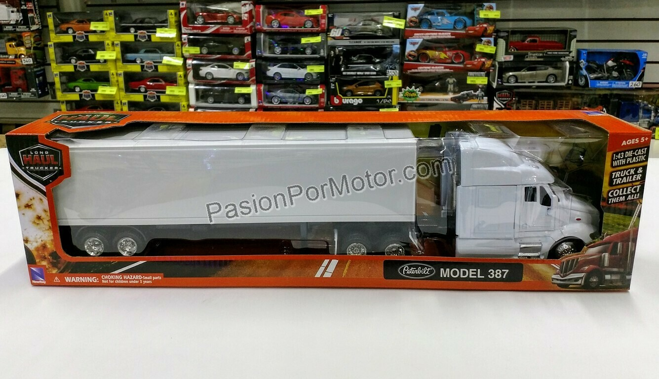 1:43 Peterbilt Model 387 1999 C Caja Seca Blanco Liso Trailer New Ray