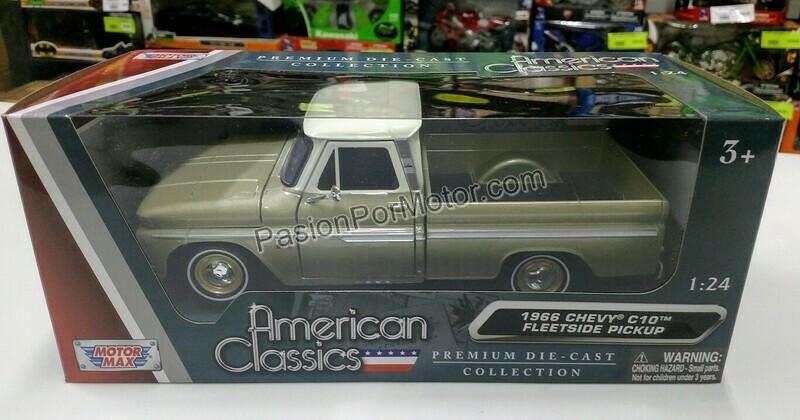 1:24 Chevrolet C10 Fleetside Pick Up 1966 Ocre y Beige Motor Max C Caja