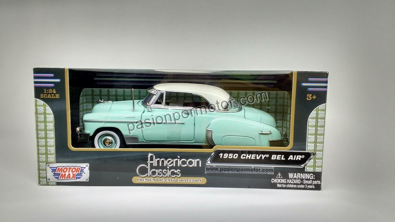 1:24 Chevrolet Bel Air Coupe 1950 Verde Pistache Motor Max C Caja