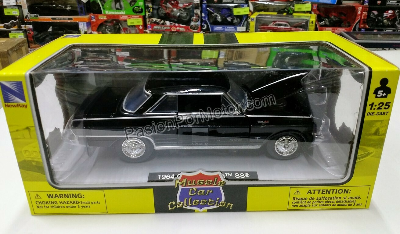 1:25 Chevrolet Nova Coupe SS 1964 Negro New Ray Muscle Car Collection C Caja 1:24