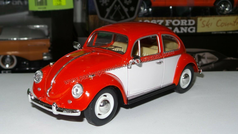 1:24 Volkswagen Beetle 1967 Rojo C Blanco Vocho Kinsmart En Display / A Granel
