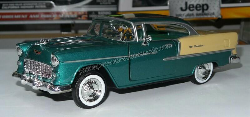 1:24 Chevrolet Bel Air Coupe 1955 Verde C Beige Motor Max C Caja